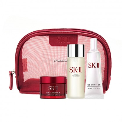 SK-II R.N.A. Power Airy Milky Lotion with Aura Set 3 (3 items with FREE Cosmetic Pouch)